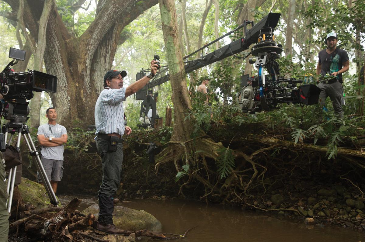 John Schwartzman, ASC getting a light reading on Jurassic World's Kaui location