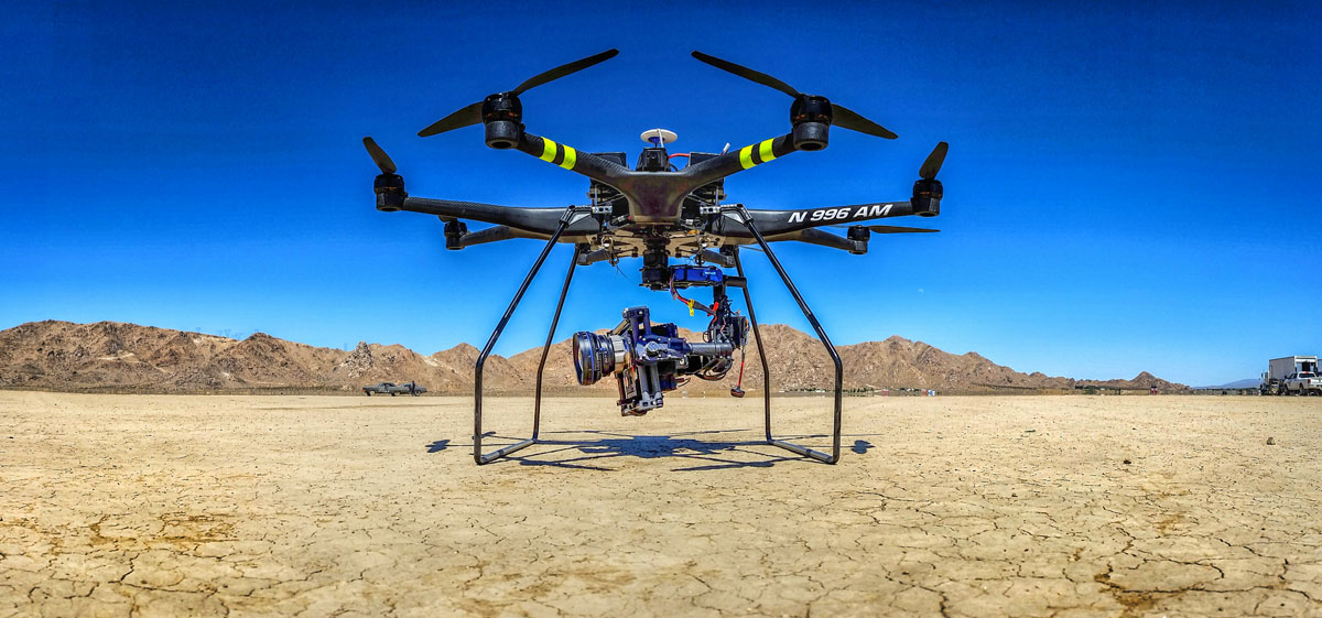 Aerial MOB 8-Rotor Heavy Lifter outfitted with a Red Epic in El Mirage, California/ Courtesy of Treggon Owens