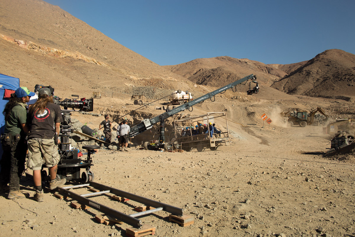 30-foot Technocrane near mine's entrance, shot 10km from real San Jose mine in Chile.