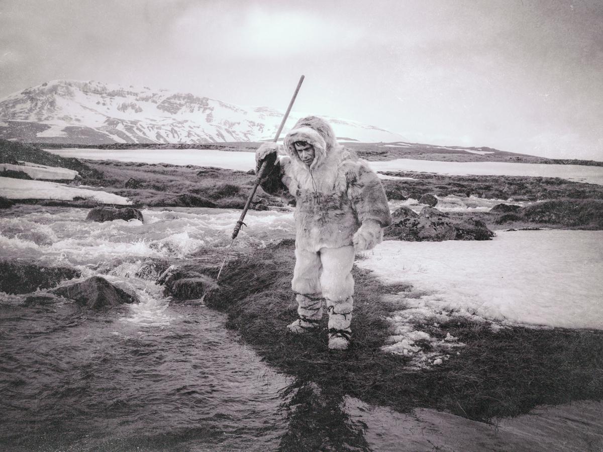 "Fred Armisen as Pipilok/Kunuk, the Eskimo subject of ""Kunuk, the Hunter."" The episode was shot on a glacier an hour outside of Reykjavik, Iceland / Photo Courtesy of Alex Buono"