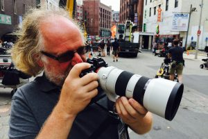 Hopper Stone with the Sony A7s mirrorless camera on the set of Ghostbusters / Courtesy of Hopper Stone