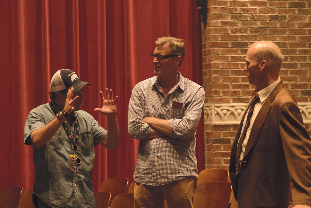 Behind the Scenes: MICHAEL KEATON on the set of THE FOUNDER with Director JOHN LEE HANCOCK (center)