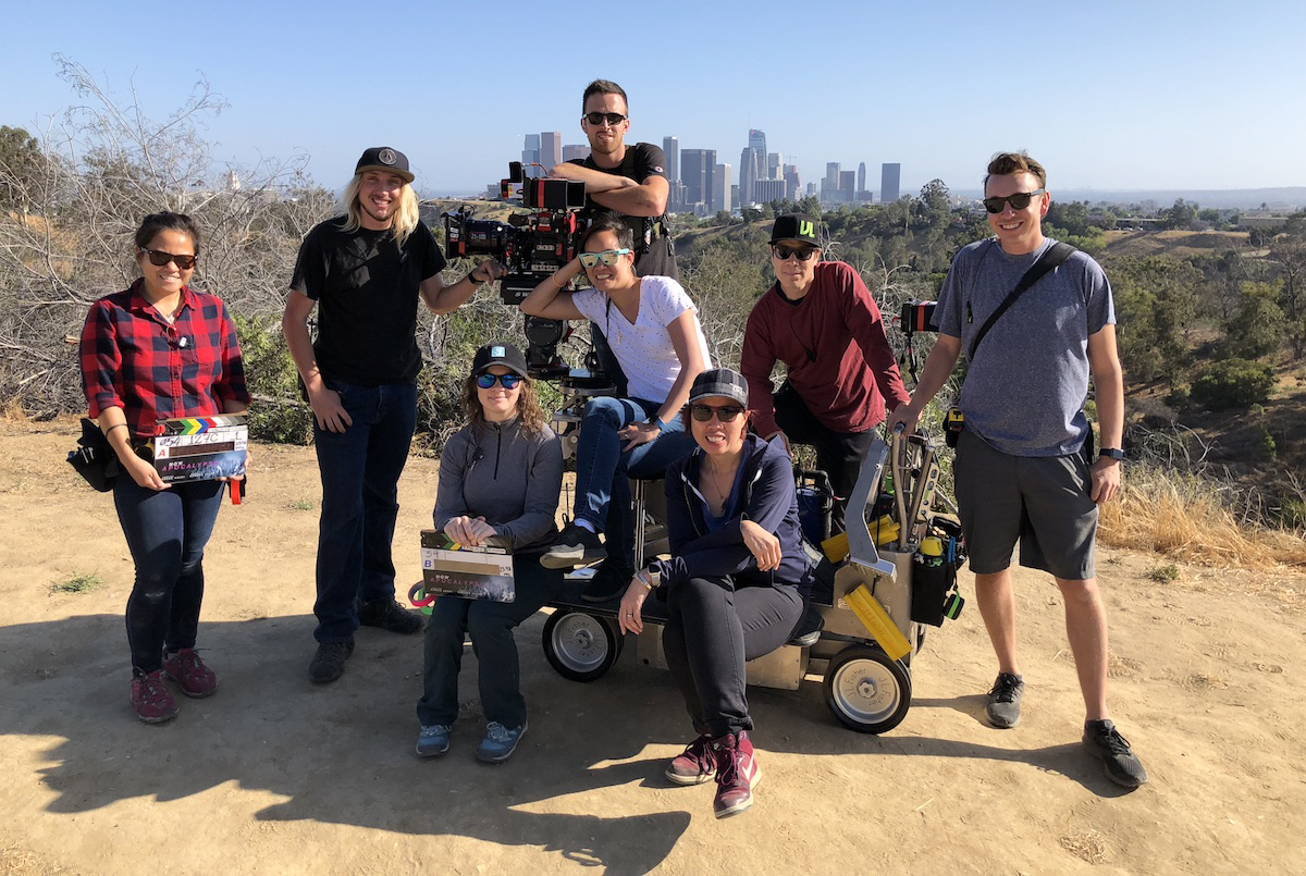 Now Apocalypse Camera team from left to right: A-camera 2nd AC Michaela Angelique, A-camera 1st AC Derek Plough, B-camera 2nd AC Brittany Meadows A-camera Operator Yvonne Chu, Digital Loader Issac Guy, DP Sandra Valde-Hansen, B-camera Operator/Steadicam Jesse Bactat, SOC, B-camera 1st AC Paul Auerbach / Photo by Katrina Marcinowski
