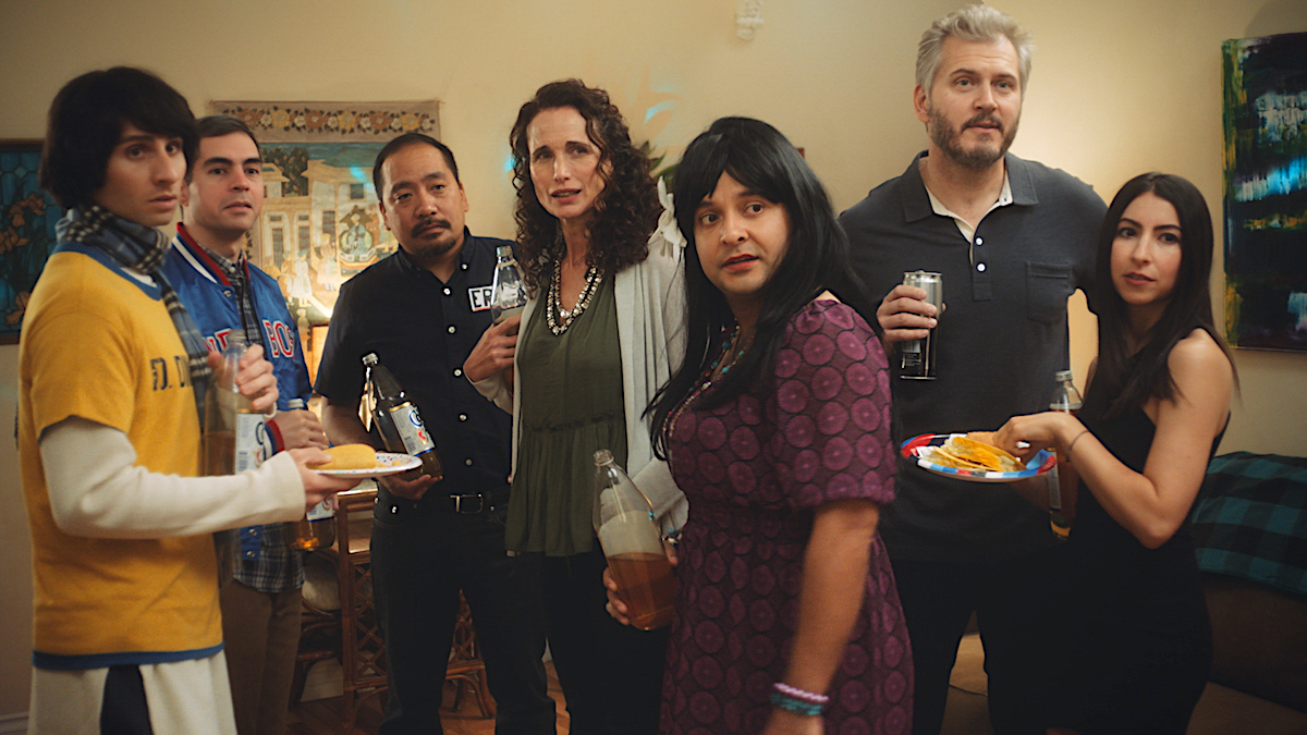 Donny Divanian, Brent Weinbach, Kevin Camia, Andie MacDowell, Frankie Quinones, Christian Duguay and Chase Berstein / Courtesy of John Rutland / Sundance Institute