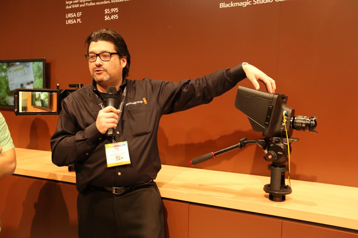Bob Caniglia, Senior Regional Manager, Eastern North America, breaks down Blackmagic Design's new Studio Cinema cameras on ICG floor tour