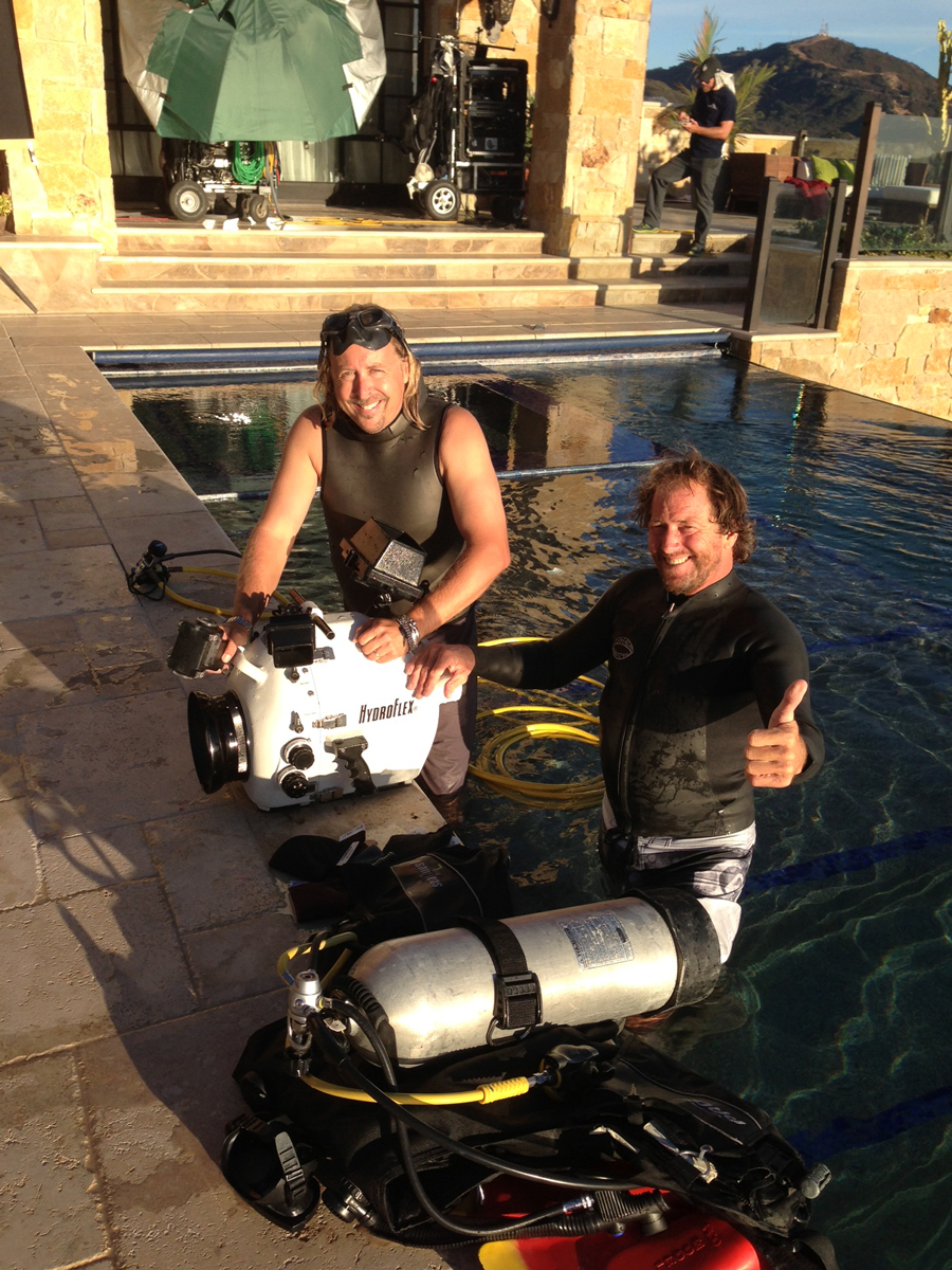 Sonny and Local 600 Underwater Camera Specialist Bobby Settlemire during production of The Hangover 3 / Malibu, CA