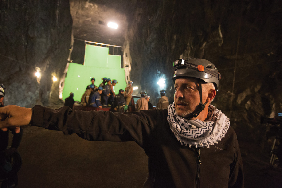 Checco Varese, ASC deep down inside Zipaquirá mine in Columbia. Green screen in rear was used for a portion of extended mine collapse sequence.