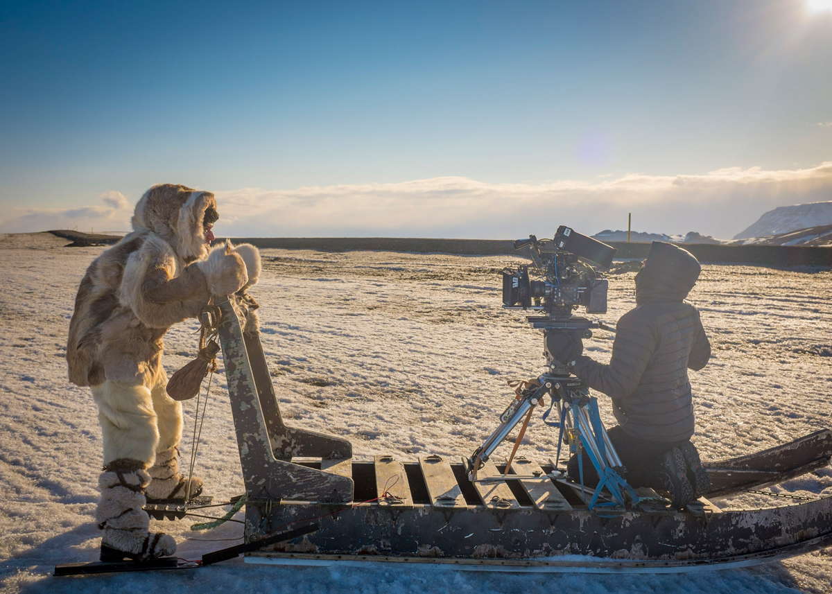 Director of Photography and Co-Director Alex Buono filming actor Fred Armisen on RED Dragon with re-housed vintage Series-1 Cooke prime lenses from the 1930s. Shot on location outside Reykjavik, Iceland/ Photo Courtesy of Rhys Thomas