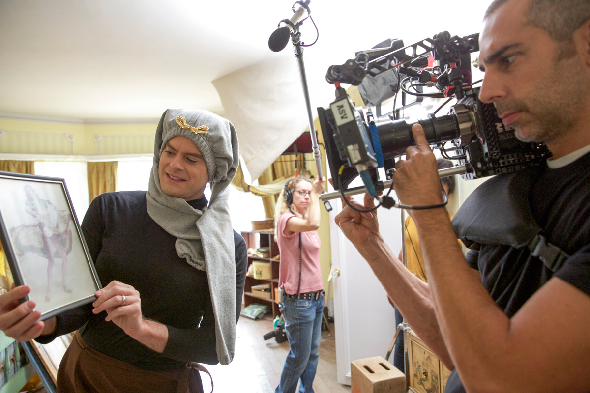 """Operator Chris Cuevas gets a shot of Bill Hader in """"Sandy Passage,"""" using a vintage Angenieux 9.5-95mm zoom on the RED Dragon / Photo Courtesy of Rhys Thomas"""