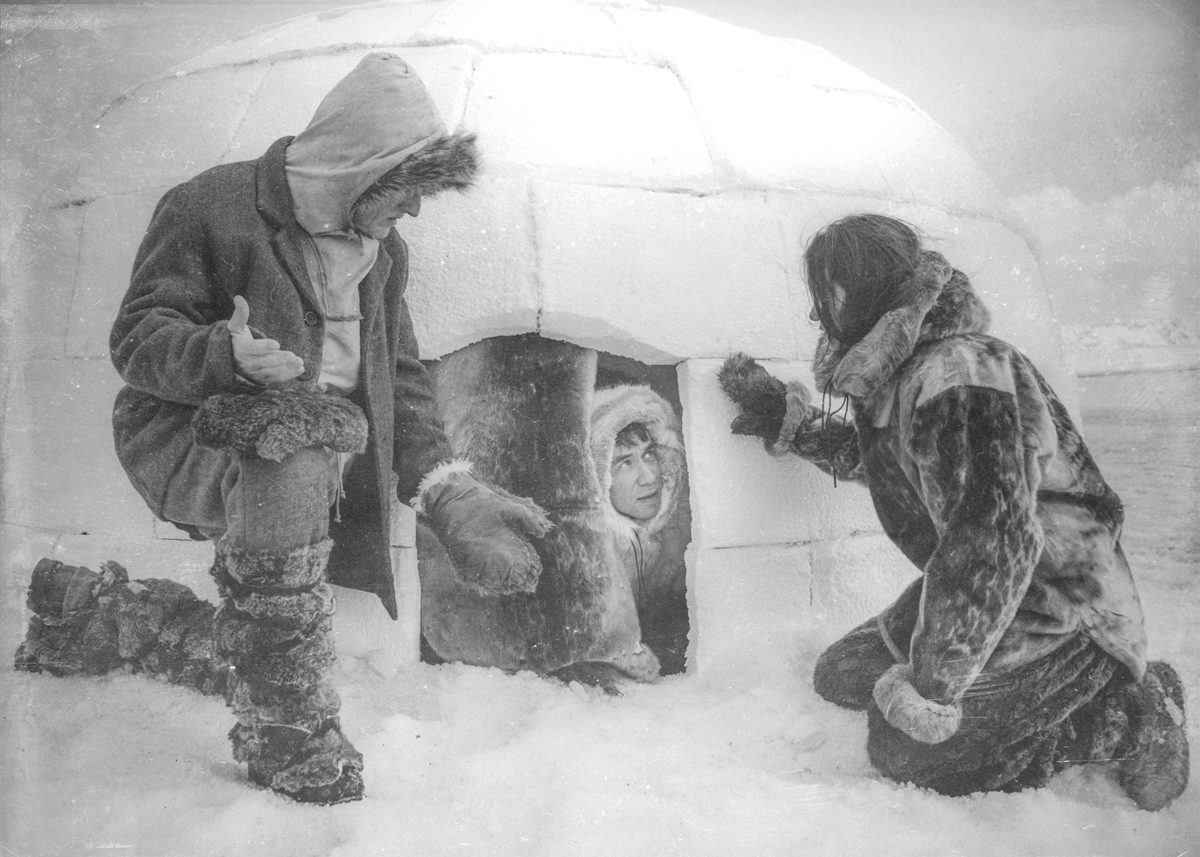 """A shot from """"Kunuk, The Hunter,"""" a parody of Robert Flaherty's 1921 film, """"Nanook of the North.""""  Note effects of period lens and post treatment, faithfully recreating the silent film look/ Photo Courtesy of Rhys Thomas"""