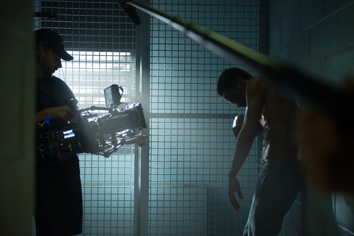 Crown Heights DP Ben Kutchins shooting in a cell with Lakeith Stanfield / Photo by Anna Kooris