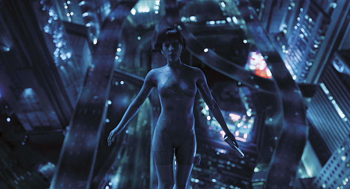Scarlett Johansson plays Major in Ghost in the Shell from Paramount Pictures and DreamWorks Pictures.