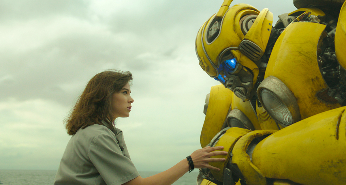 A stilt performer on yellow-painted extensions helped maintain an eyeline connection for dialogue scenes with Charlie and Bee.