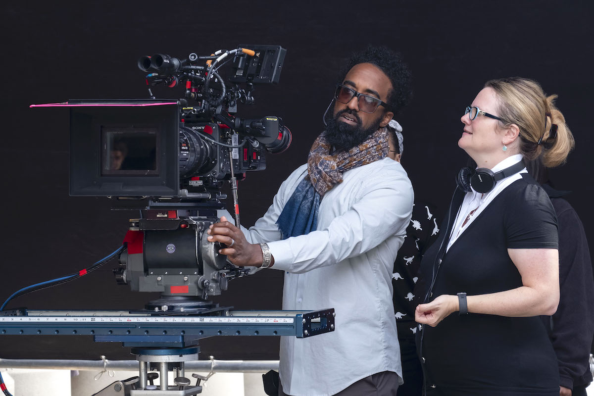 Director of Photography Tommy Maddox-Upshaw and On The Block Creator Lauren Iungerich on the set for Season 2 of this Netflix series, set in South L.A. / Photo by Nicola Goode, SMPSP