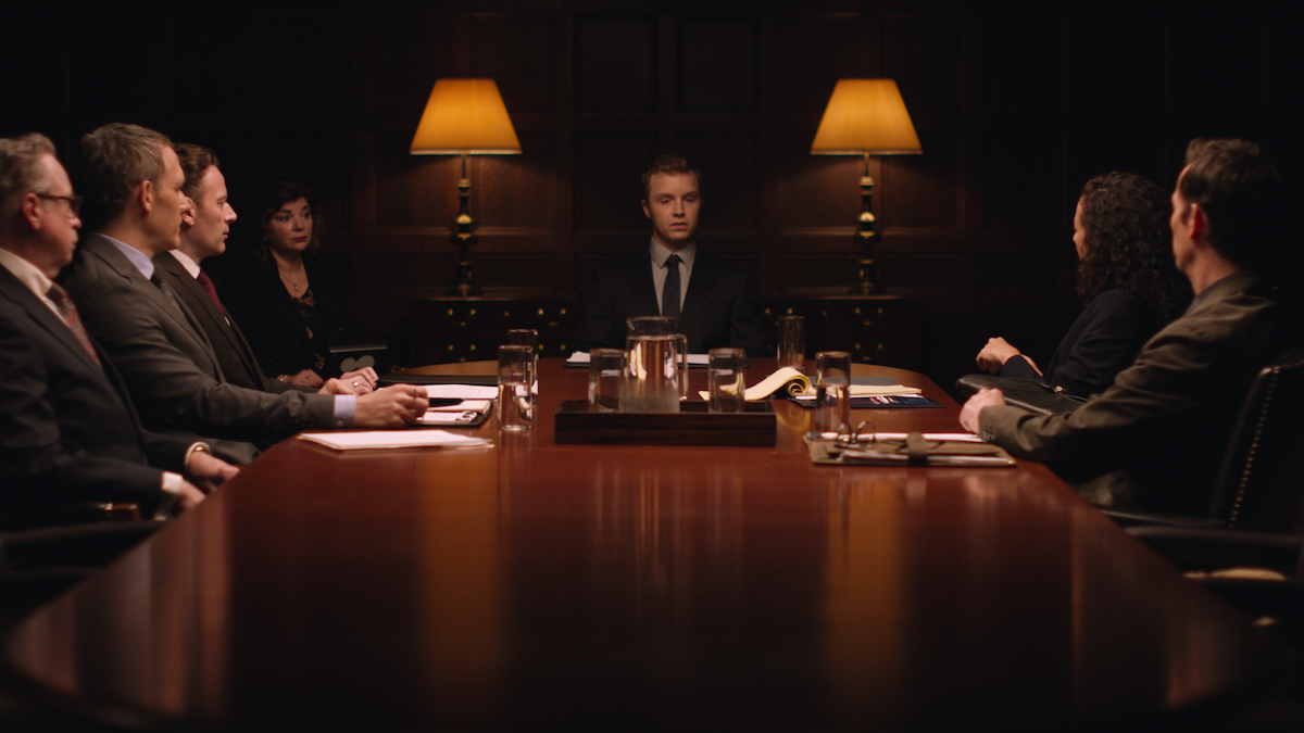 For a key deposition scene, Kelly, Gaffer Addae Shelby and Key Grip Randy Garcia made extensive use of soft top-light; Rigging Gaffer Dan Gianneschi and Rigging Key Grip Jorge Reyes-Ortiz constructed an aluminum-framed softbox that was 18 inches deep and 4×8 feet long/ Framegrab Courtesy of CBS