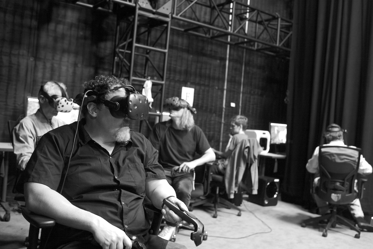 """As a group, we'd do a scout – six of us wearing VR headsets, walking around the 'location' we were filming,"" Favreau recalls. ""Caleb had only done live-action films, but he settled right in, saying, 'I would put a crane here, and lay dolly track there.'"